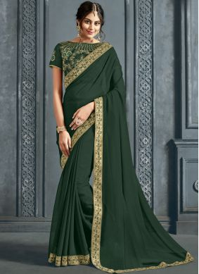 Whimsical Green Classic Saree