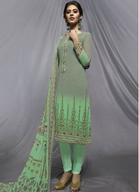 Whimsical Print Sea Green Faux Georgette Churidar Designer Suit