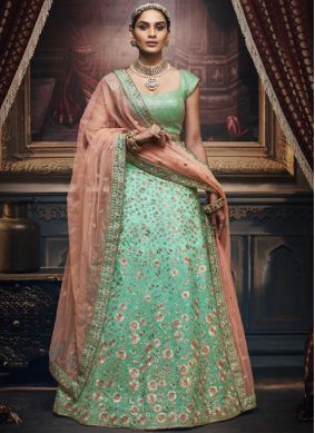 Whimsical Silk Embroidered Sea Green Trendy Designer Lehenga Choli