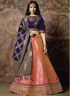 Whimsical Zari Pink Trendy Lehenga Choli