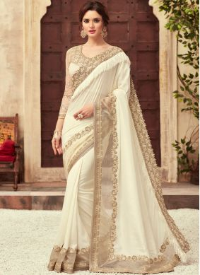 White Art Silk Embroidered Designer Traditional Saree