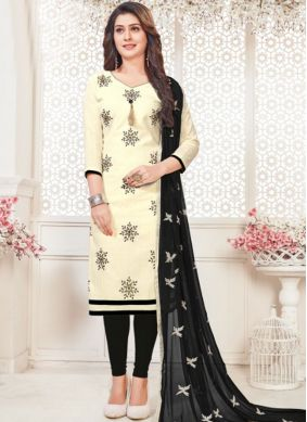 White Casual Cotton   Churidar Suit