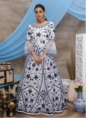 White Ceremonial Net Designer Gown