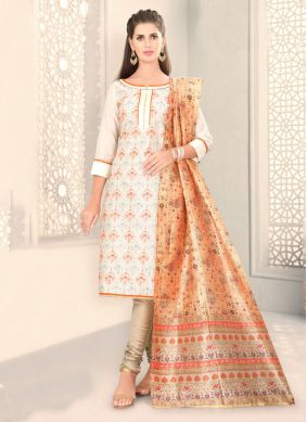 White Chanderi Ceremonial Churidar Designer Suit