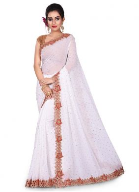 White Color Designer Traditional Saree