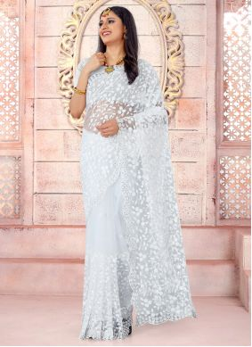White Color Net Traditional Saree