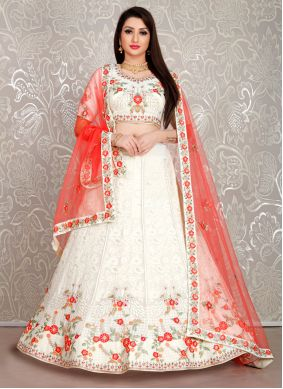 White Embroidered Georgette Designer Lehenga Choli