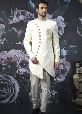 White Embroidered Jacquard Silk Indo Western