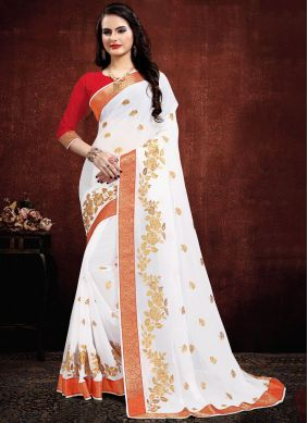 White Embroidered Party Designer Saree