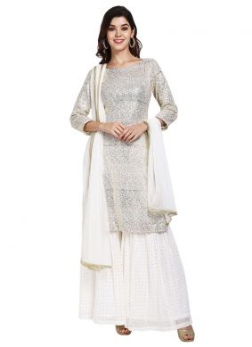 White Faux Georgette Designer Pakistani Suit