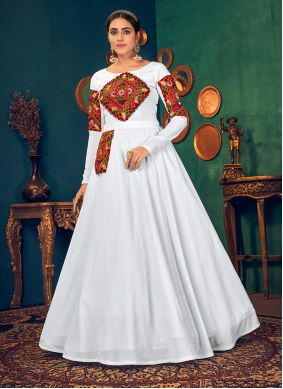 White Georgette Ceremonial Floor Length Gown