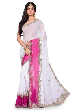 White Mehndi Georgette Designer Traditional Saree