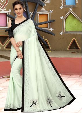 White Mehndi Silk Saree