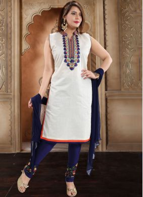 White Party Silk Trendy Churidar Salwar Kameez
