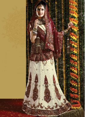 White Patch Border Bridal Lehenga Choli