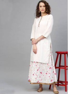 White Print Party Salwar Kameez