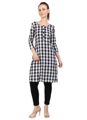 White Printed Cotton Designer Kurti