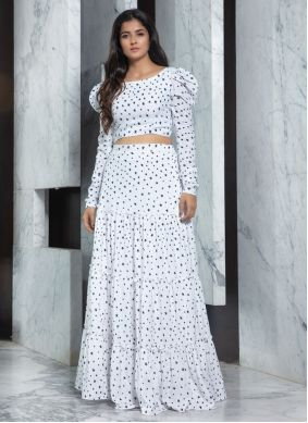 White Printed Party Designer Lehenga Choli