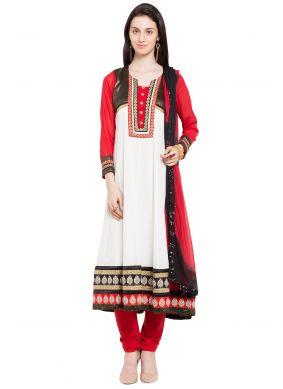 White Readymade Anarkali Salwar Suit