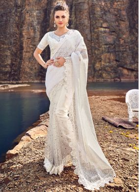 White Reception Net Classic Designer Saree