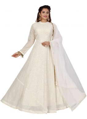 White Sequins Wedding Readymade Gown
