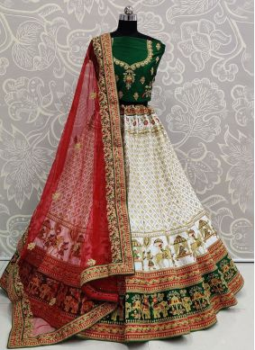 White Silk Festival Trendy Lehenga Choli