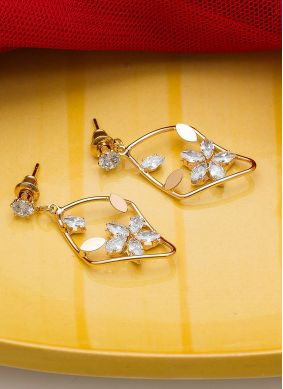 White Stone Work Party Ear Rings