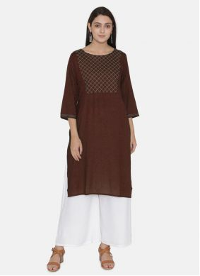 Wine Embroidered Festival Party Wear Kurti