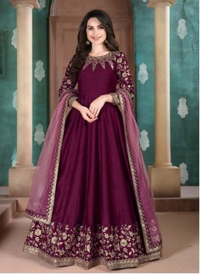 Wine Embroidered Reception Anarkali Suit