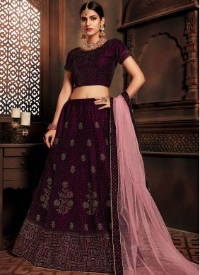 Wine Embroidered Velvet A Line Lehenga Choli
