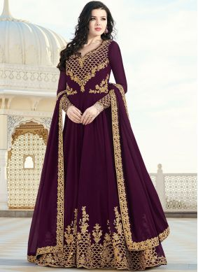 Wine Faux Georgette Festival Floor Length Anarkali Suit