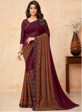 Wine Party Faux Georgette Classic Saree