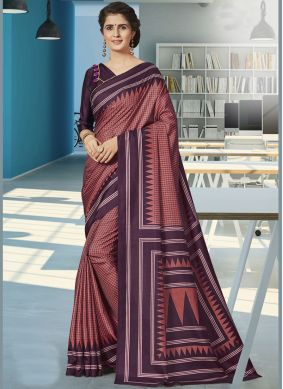 Wine Print Traditional Saree