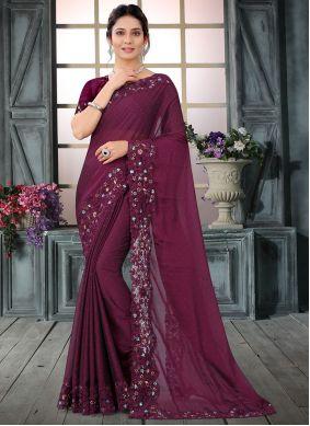 Wine Silk Embroidered Trendy Saree