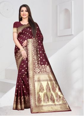 Wine Weaving Art Silk Traditional Saree