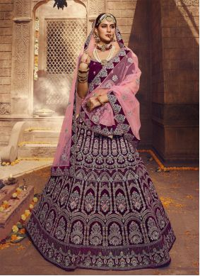 Wine Zari Wedding Lehenga Choli