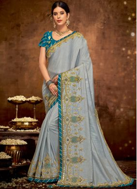 Winsome Art Silk Patch Border Grey Designer Traditional Saree