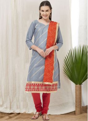 Winsome Cotton Grey Thread Churidar Suit