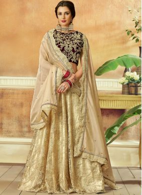 Winsome Embroidered Beige Net Lehenga Choli