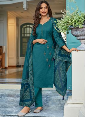 Winsome Embroidered Cotton Pant Style Suit