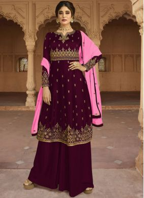 Winsome Embroidered Faux Georgette Purple Designer Palazzo Salwar Kameez