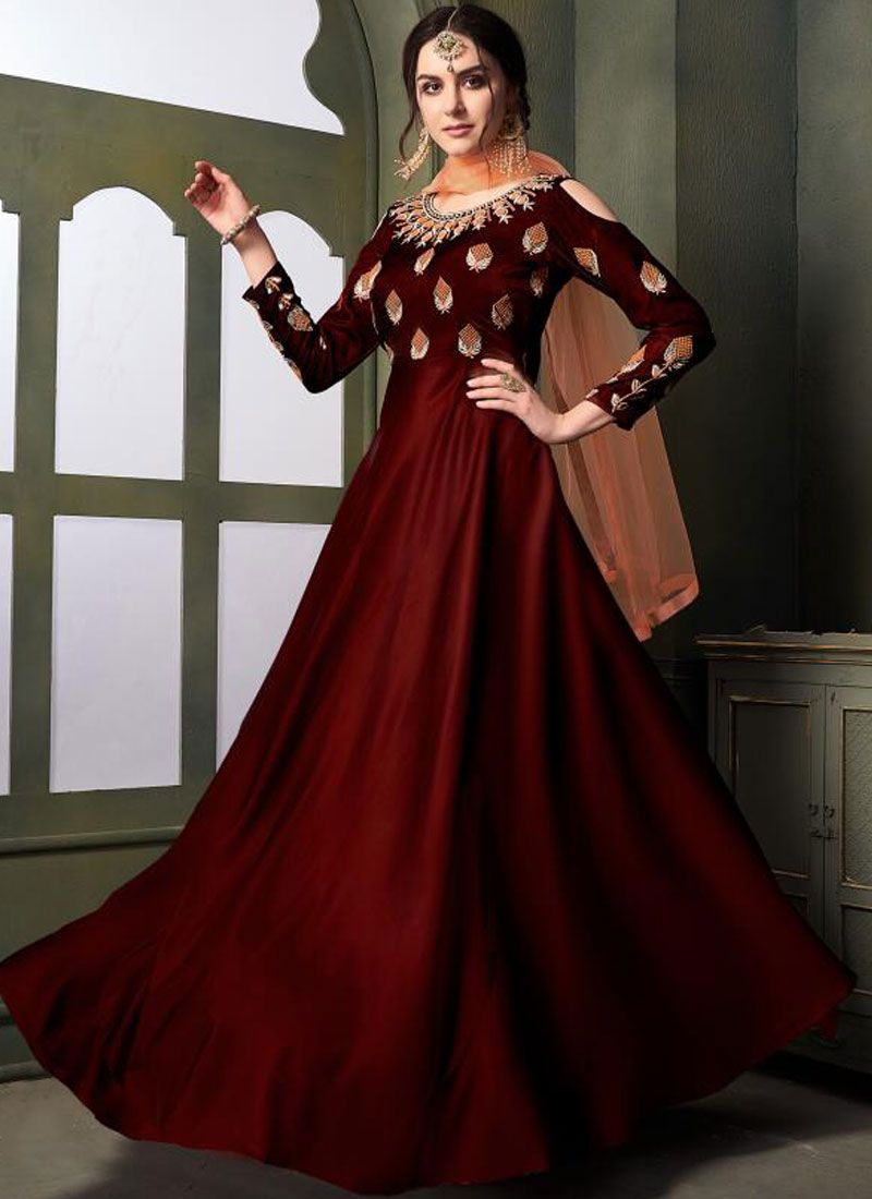 Winsome Maroon Embroidered Designer Gown