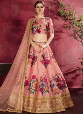 Winsome Peach Embroidered Banglori Silk Designer Lehenga Choli