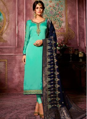 Winsome Stone Work Georgette Satin Churidar Suit
