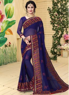Wonderous Georgette Navy Blue Embroidered Classic Saree