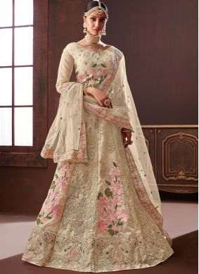 Wonderous Silk Embroidered Cream Designer Lehenga Choli