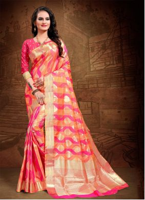 Woven Art Silk Classic Saree in Pink