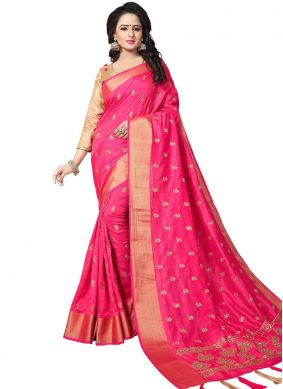 Woven Art Silk Traditional Saree in Pink