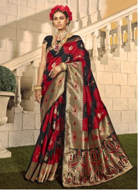 Woven Black and Red Traditional Designer Saree