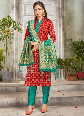 Red Woven Ceremonial Pant Style Suit